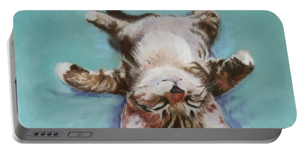 Cat Painting Portable Battery Charger featuring the pastel Little Napper by Pat Saunders-White
