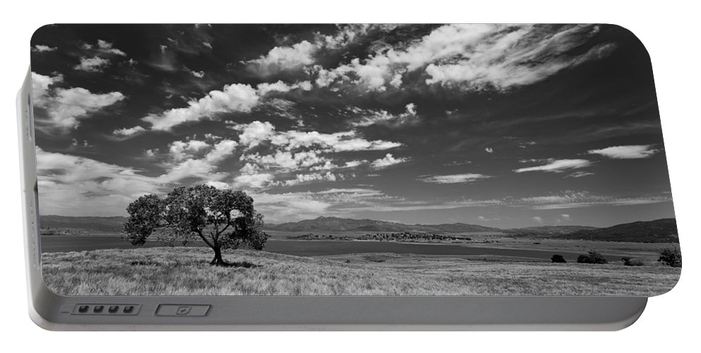 Big Sky Portable Battery Charger featuring the photograph Little Prarie Big Sky - Black And White by Peter Tellone