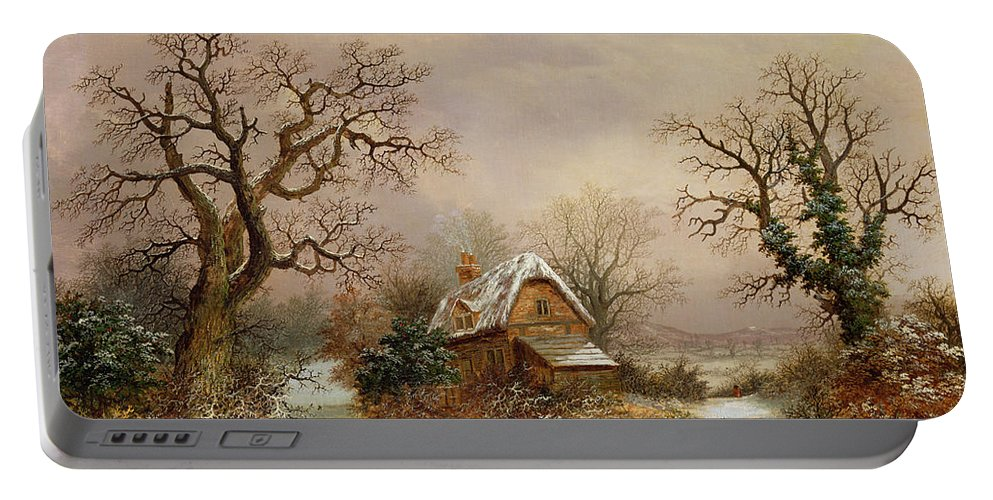 Story Portable Battery Charger featuring the painting Little Red Riding Hood In The Snow by Charles Leaver