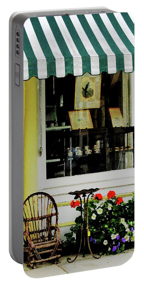 Rocking Chair Portable Battery Charger featuring the photograph Little Rocking Chair By Antique Store by Susan Savad