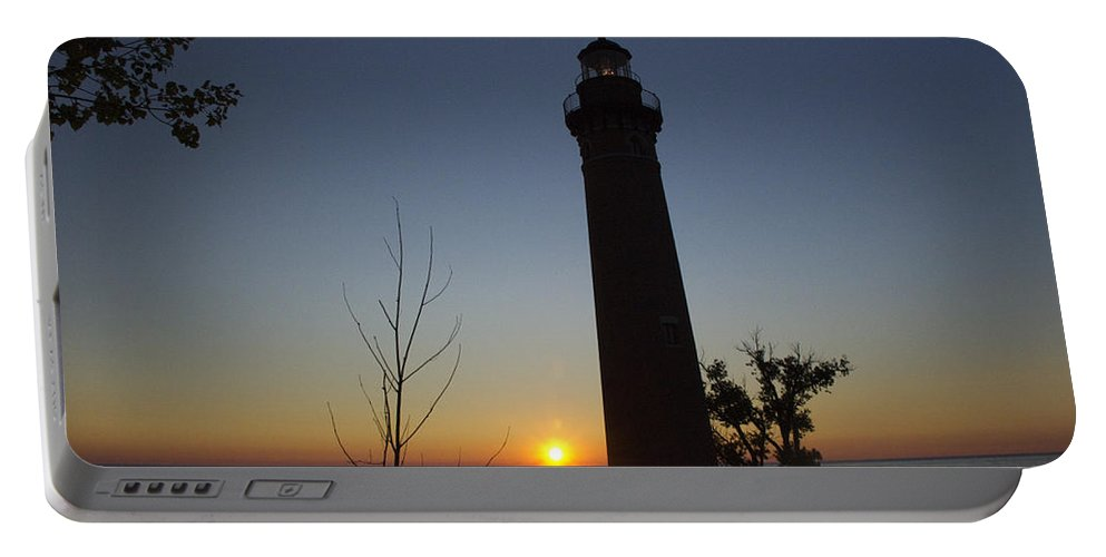 Art Portable Battery Charger featuring the photograph Little Sable Lighthouse At Sunset by Randall Nyhof