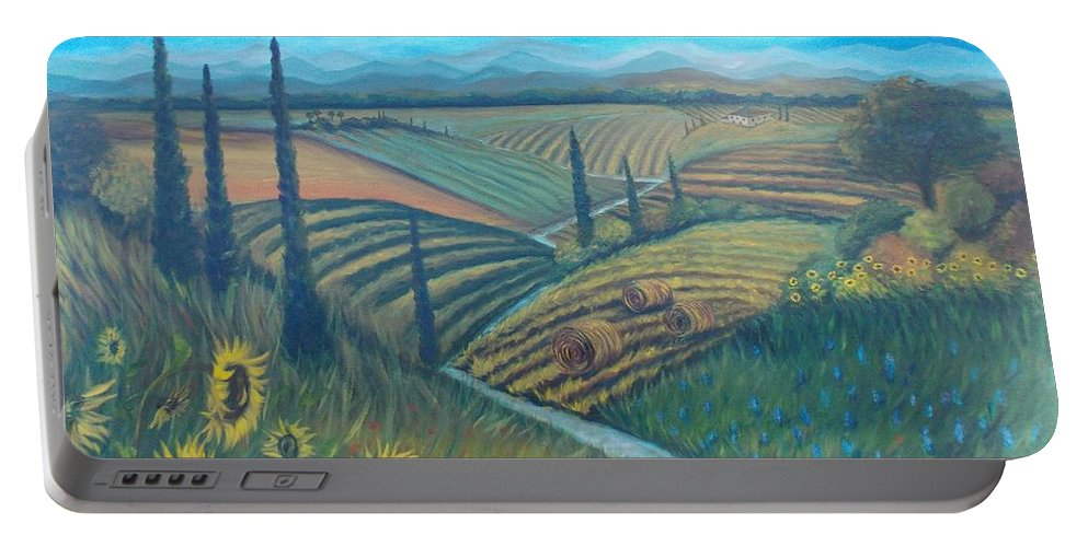 Landscape Portable Battery Charger featuring the painting Little Tuscany by Julie Cranfill
