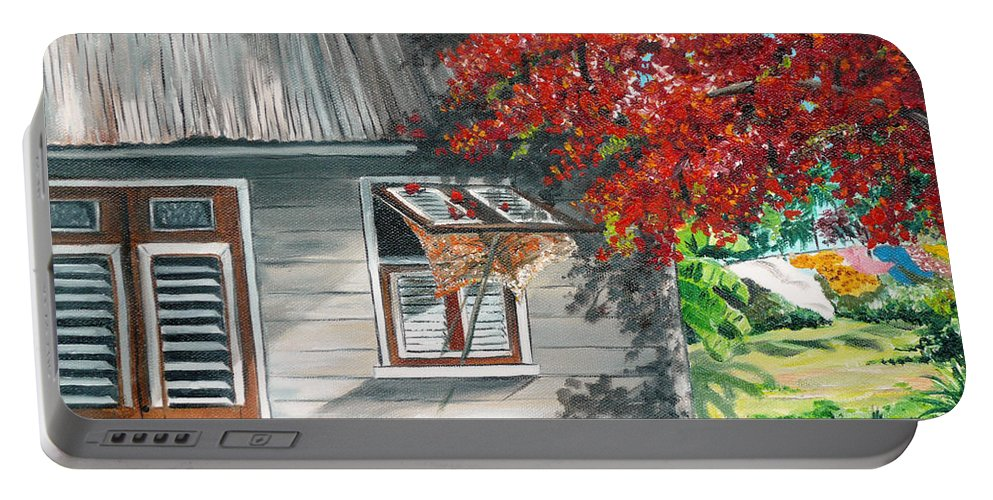 Caribbean Painting Typical Country House In The Caribbean Or West Indian Islands With Flamboyant Tree Tropical Painting Portable Battery Charger featuring the painting Little West Indian House 1 by Karin Dawn Kelshall- Best