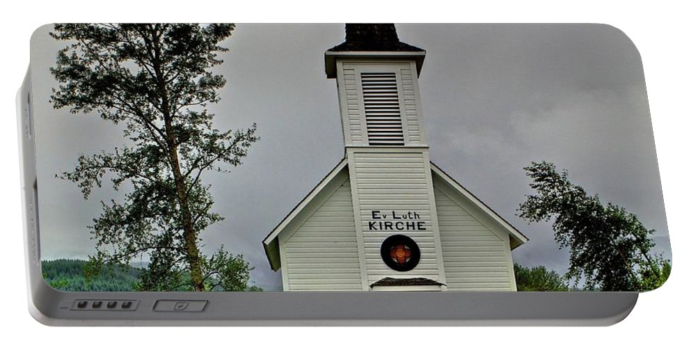 Little White Church Portable Battery Charger featuring the photograph Little White Church by SC Heffner
