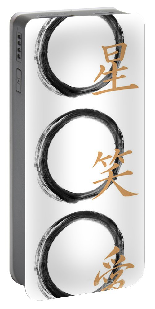 Live Portable Battery Charger featuring the painting Live Laugh Love Zen Enso by To-Tam Gerwe