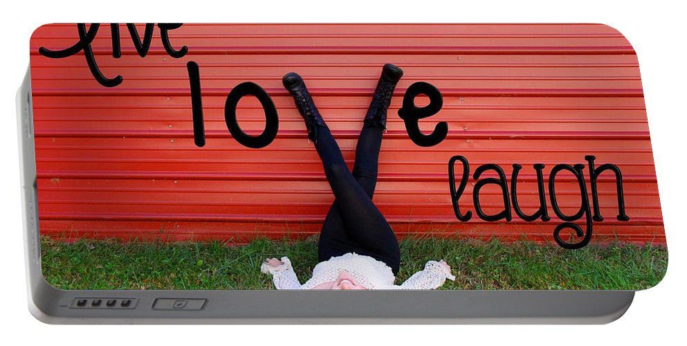Senior Portrait Work Portable Battery Charger featuring the photograph Live Love Laugh By Diana Sainz by Diana Raquel Sainz