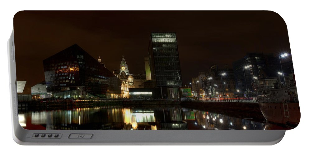 Liverpool Portable Battery Charger featuring the photograph Liverpool Docks At Night by Beverly Cash