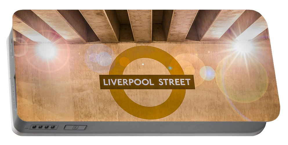 Bridge Portable Battery Charger featuring the photograph Liverpool Street Underground by Semmick Photo