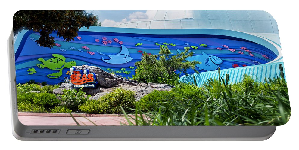 Living Seas Portable Battery Charger featuring the photograph Living Seas Signage Walt Disney World by Thomas Woolworth