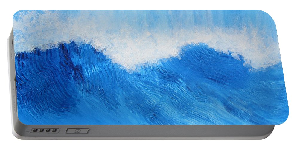 Water Portable Battery Charger featuring the painting Living Water by Liz Tomlinson