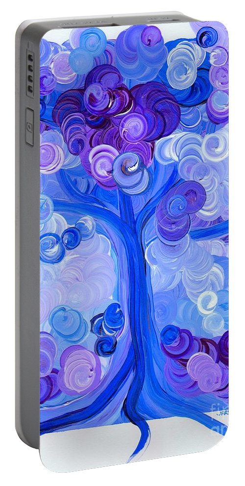First Star Portable Battery Charger featuring the painting Liz Dixon's Tree Blue by First Star Art
