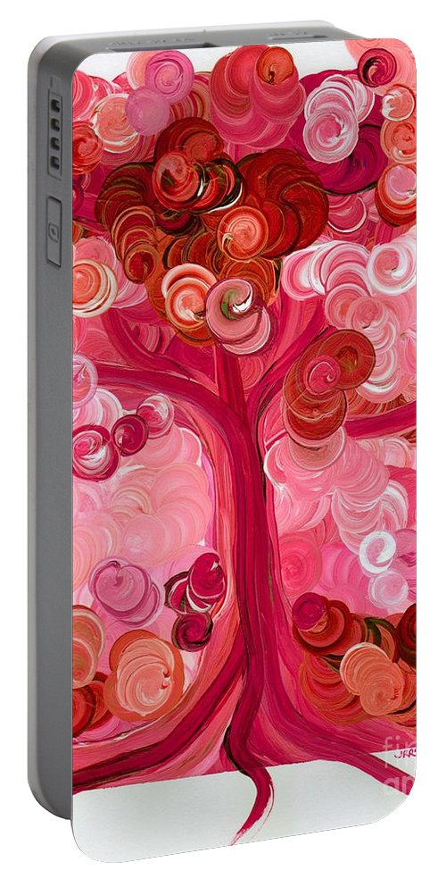 First Star Portable Battery Charger featuring the painting Liz Dixon's Tree Red by First Star Art