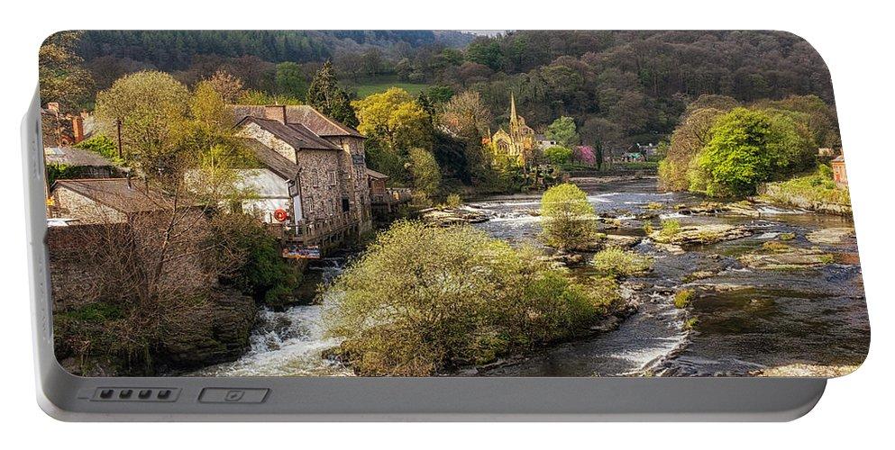Llangollen Portable Battery Charger featuring the photograph Llangollen And The River Dee by Ann Garrett