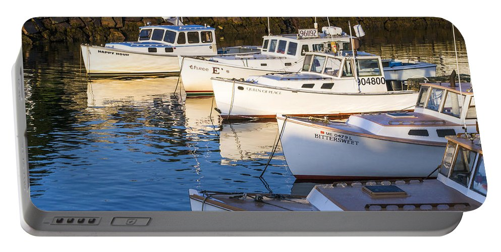 Boat Portable Battery Charger featuring the photograph Lobster Boats - Perkins Cove -maine by Steven Ralser