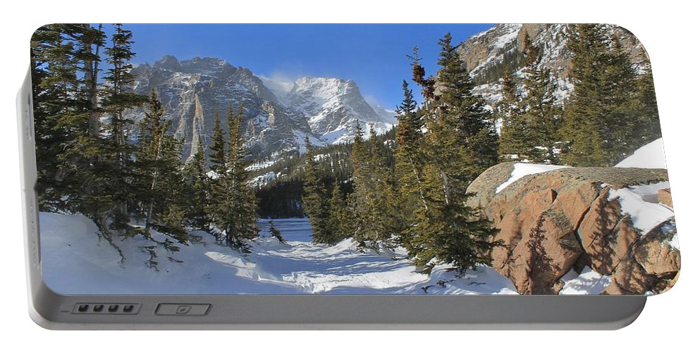 Winter Portable Battery Charger featuring the photograph Loch Vale Winter by Tonya Hance