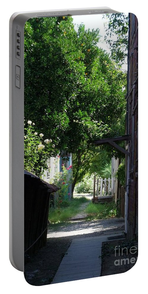 Green Portable Battery Charger featuring the photograph Locke Chinatown Series - Alley With Trees - 5 by Mary Deal