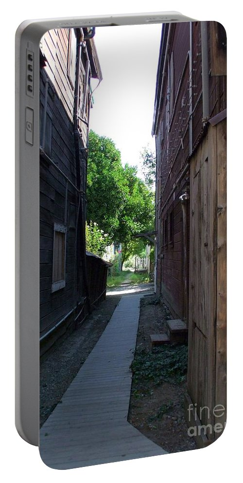 Alleyways Portable Battery Charger featuring the photograph Locke Chinatown Series - Alleyway With Trees - 4 by Mary Deal