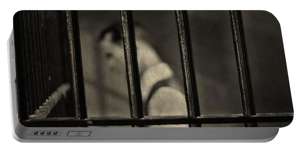 Behind Bars Portable Battery Charger featuring the photograph Locked Up Black And White by Dan Sproul