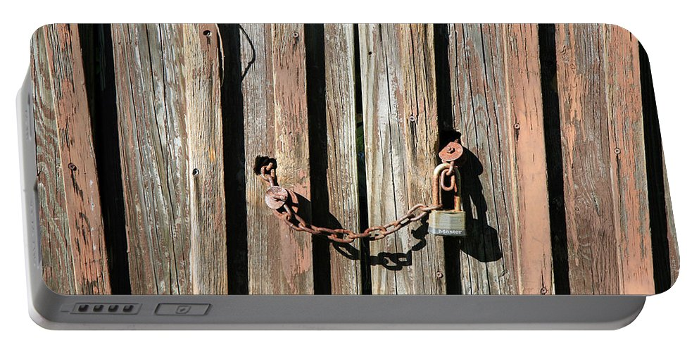 Lock Portable Battery Charger featuring the photograph Locked Wood by Cora Wandel