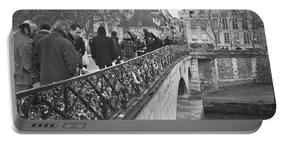 Black And White Portable Battery Charger featuring the photograph Locking Love by Pati Photography