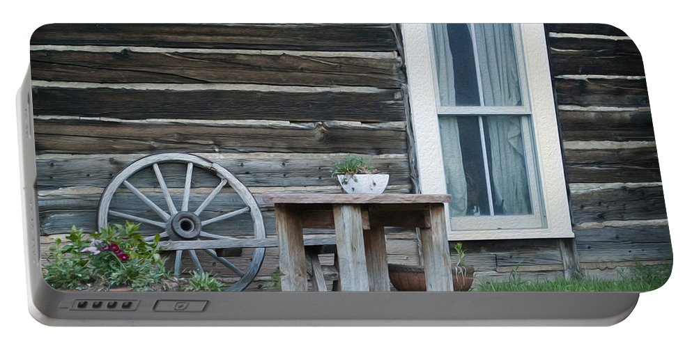 601 Klondyke Ave Portable Battery Charger featuring the photograph Log Cabin by Juli Scalzi