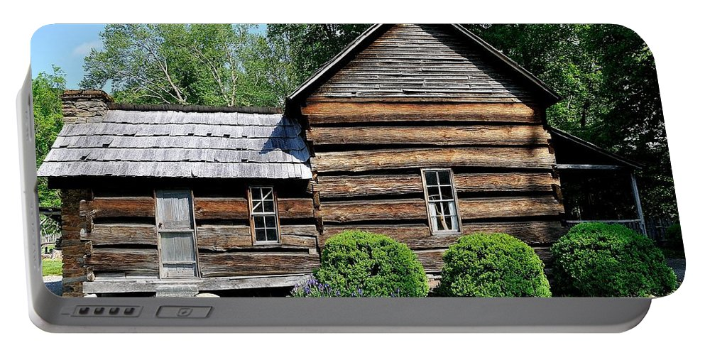 Farm Portable Battery Charger featuring the photograph Log House by Todd Hostetter