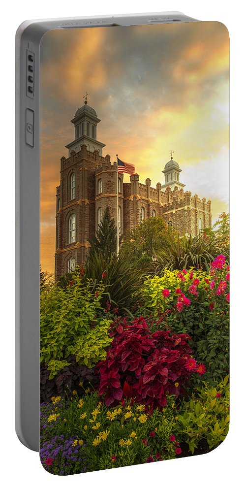 Logan Temple Portable Battery Charger featuring the photograph Logan Temple Garden by Dustin LeFevre