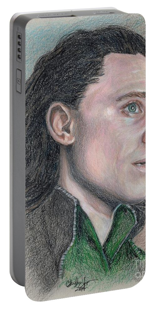 Loki Portable Battery Charger featuring the drawing Loki From The Avengers by Christine Jepsen