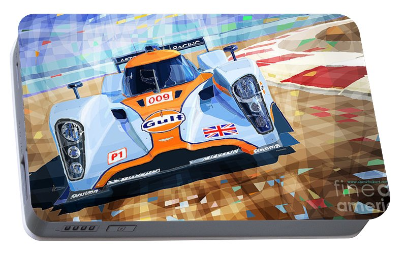Automotive Portable Battery Charger featuring the mixed media Lola Aston Martin Lmp1 Racing Le Mans Series 2009 by Yuriy Shevchuk