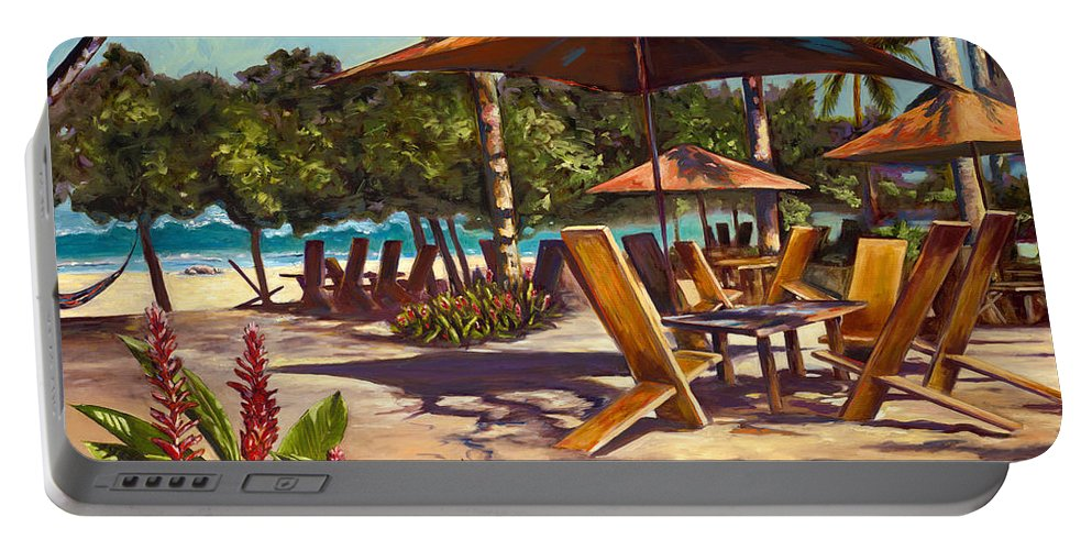 Tropical Portable Battery Charger featuring the painting Lola's In Costa Rica by Christie Michael