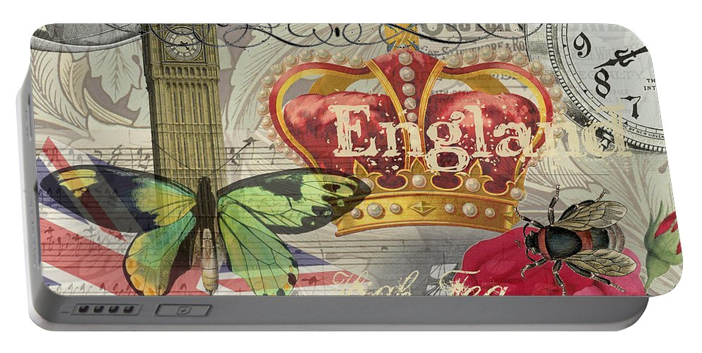 Doodlefly Portable Battery Charger featuring the digital art London England Vintage Travel Collage by Mary Hubley