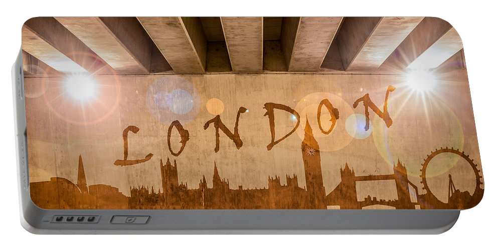 Bridge Portable Battery Charger featuring the photograph London Graffiti Skyline by Semmick Photo