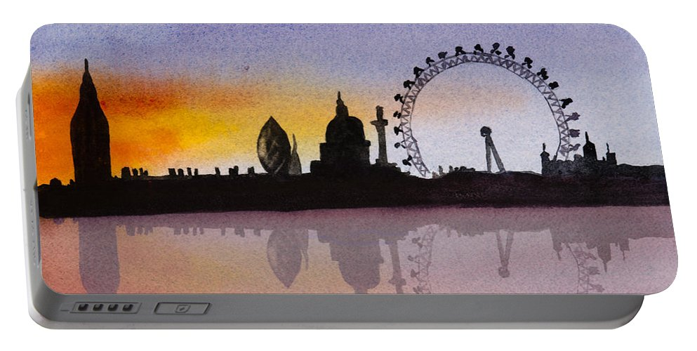 London Skyline Portable Battery Charger featuring the painting London Skyline At Sunset by Donna Walsh