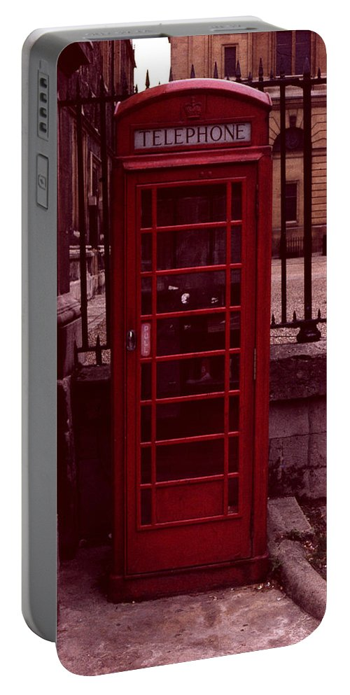 Cityscape Portable Battery Charger featuring the photograph London Telephone by David Hohmann