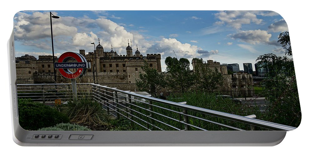 Georgia Mizuleva Portable Battery Charger featuring the photograph London Underground And The Tower Of London by Georgia Mizuleva