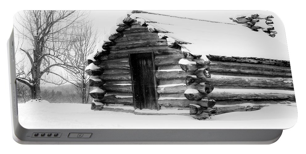 Cabin Portable Battery Charger featuring the photograph Lone Cabin by Traci Law