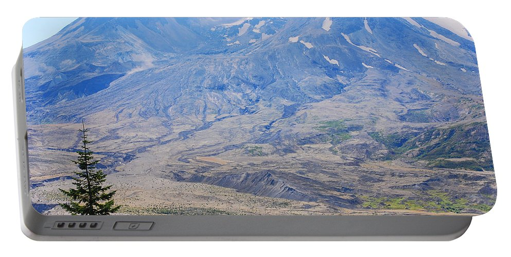 Lone Evergreen Portable Battery Charger featuring the photograph Lone Evergreen - Mount St. Helens 2012 by Connie Fox