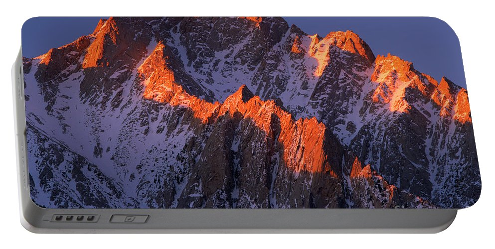 Alabama Hills Portable Battery Charger featuring the photograph Lone Pine Peak - February by Inge Johnsson