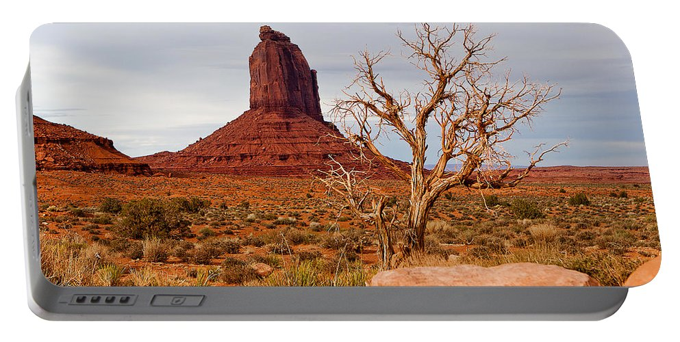 Monument Valley Portable Battery Charger featuring the photograph Lone Pine by Peter Tellone