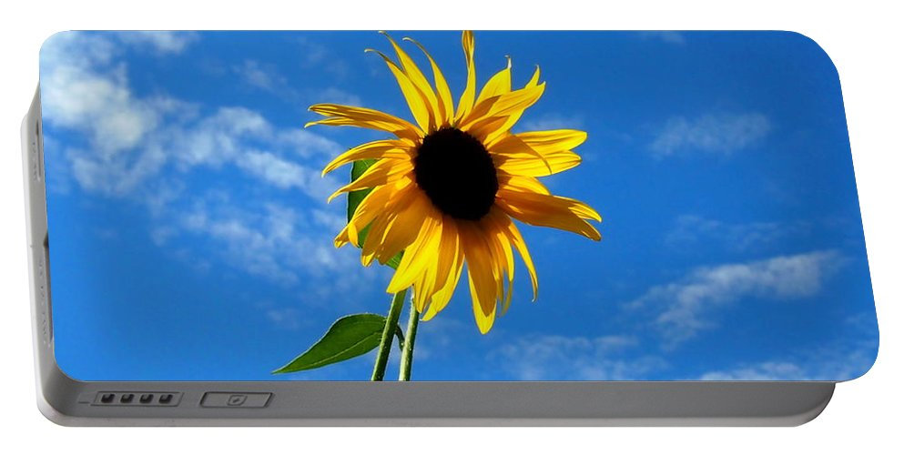 Nature Portable Battery Charger featuring the photograph Lone Sunflower In A Summer Blue Sky by Amy McDaniel
