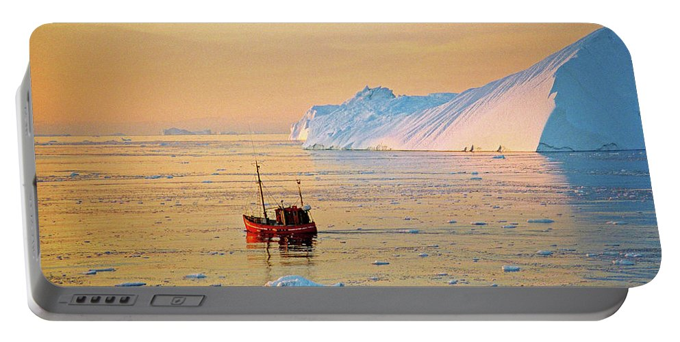 Greenland Portable Battery Charger featuring the photograph Lonely Boat - Greenland by Juergen Weiss