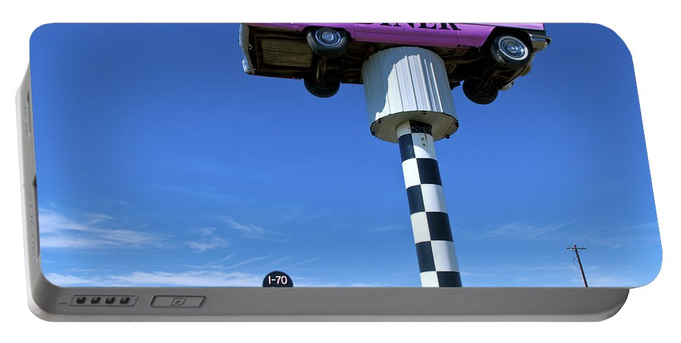 Lonely Portable Battery Charger featuring the photograph Lonely Diner With Pink Cadillac by Bill Bachmann