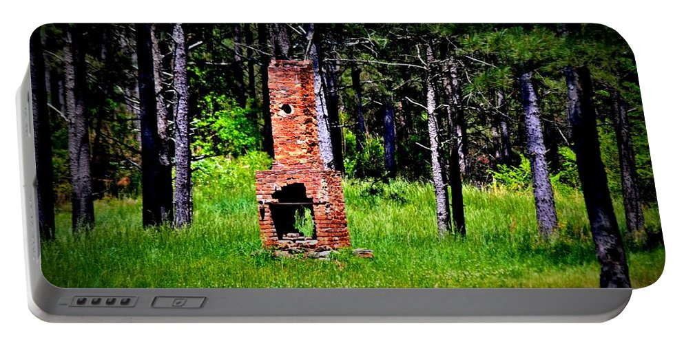 Fireplace Portable Battery Charger featuring the photograph Lonely Fireplace by Tara Potts