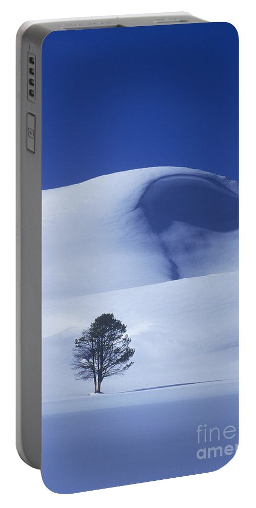 North America Portable Battery Charger featuring the photograph Lonely Tree In Winter Yellowstone National Park by Dave Welling
