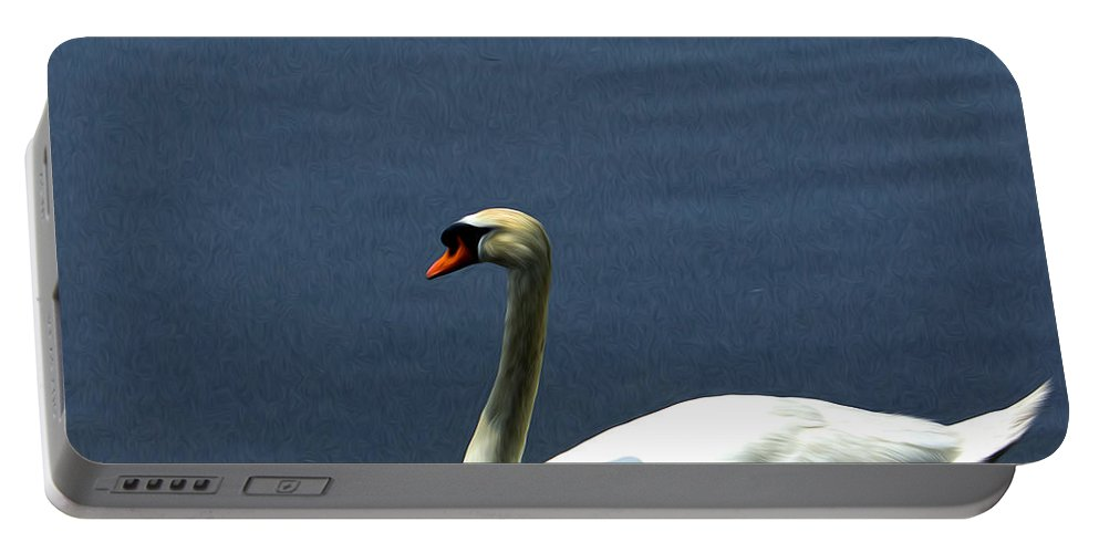 Swan Portable Battery Charger featuring the photograph Lonesome Swan by Jorge Perez - BlueBeardImagery