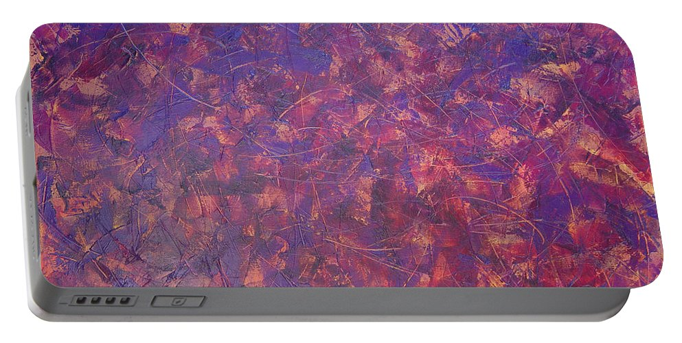 Abstract Portable Battery Charger featuring the painting Long Beach 5am by Dean Triolo