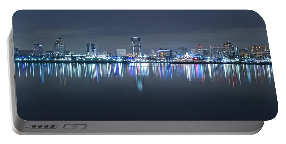 America Portable Battery Charger featuring the photograph Long Beach Skyline by Heidi Smith