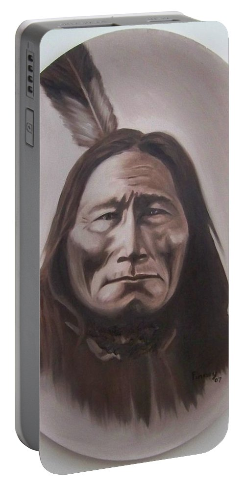 Michael Portable Battery Charger featuring the painting Long Bear by Michael TMAD Finney