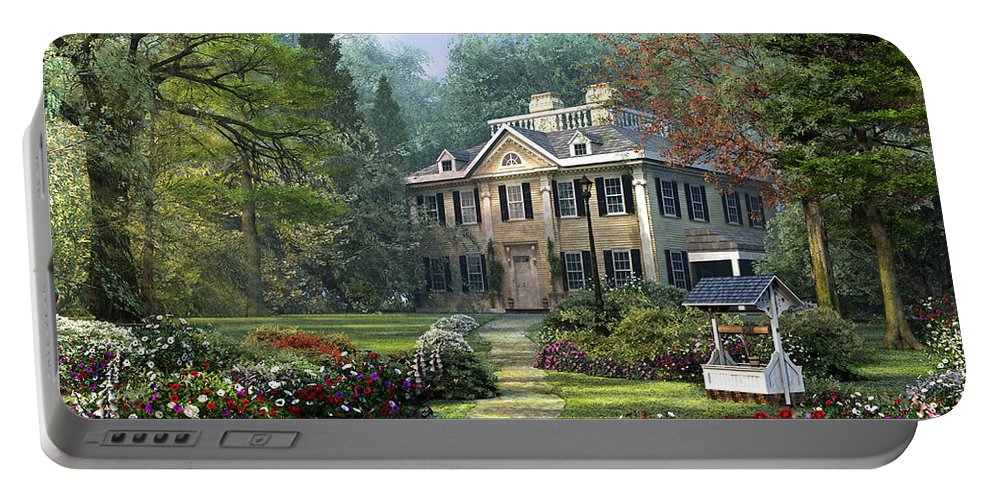 Cottage Portable Battery Charger featuring the digital art Long Fellow House by Dominic Davison