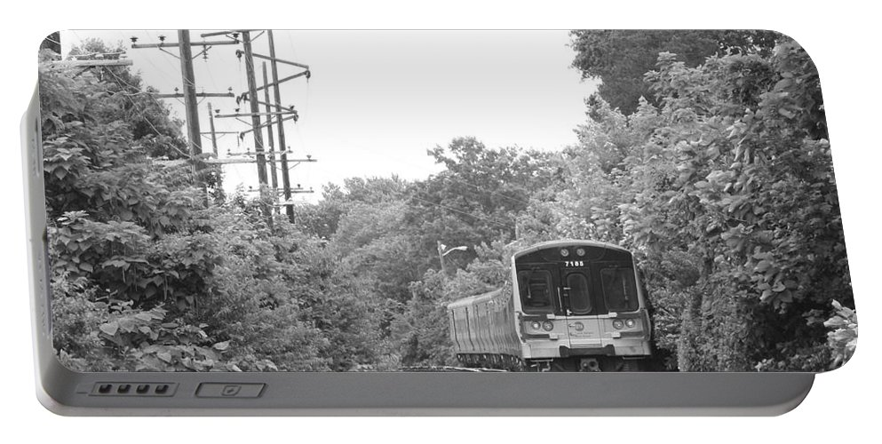 Long Island Railroad Pulling Into Station Portable Battery Charger featuring the photograph Long Island Railroad Pulling Into Station by John Telfer